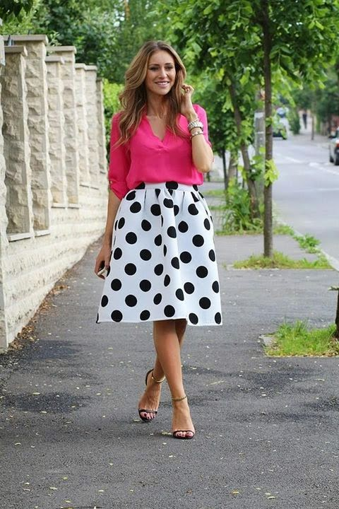 flared skirt and blouse