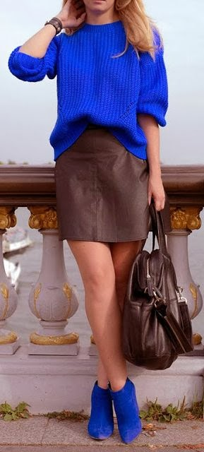 Cobalt Blue Sweater With Brown Skirt And Cobalt Blue Boots