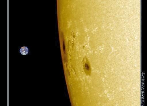 Mancha solar AR1967 es tan grande como la tierra, 29 de Enero 2014
