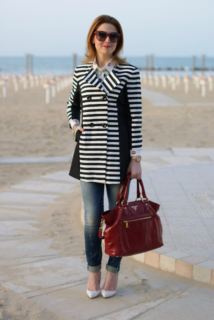 striped coat, white pumps, Fashion and Cookies