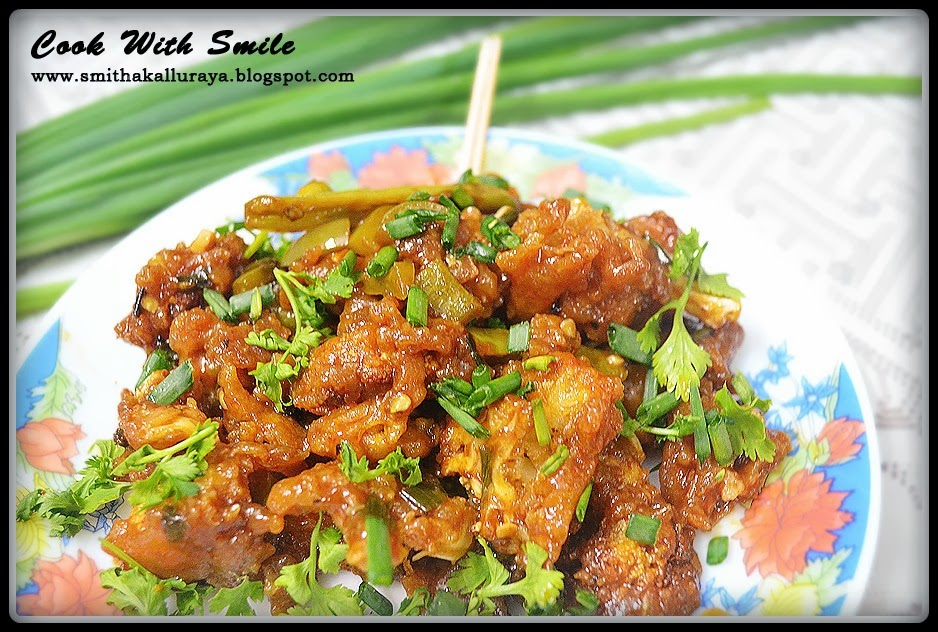 Gobi Manchurian/Cauliflower Fritters In Spicy Sauce Recipes ...