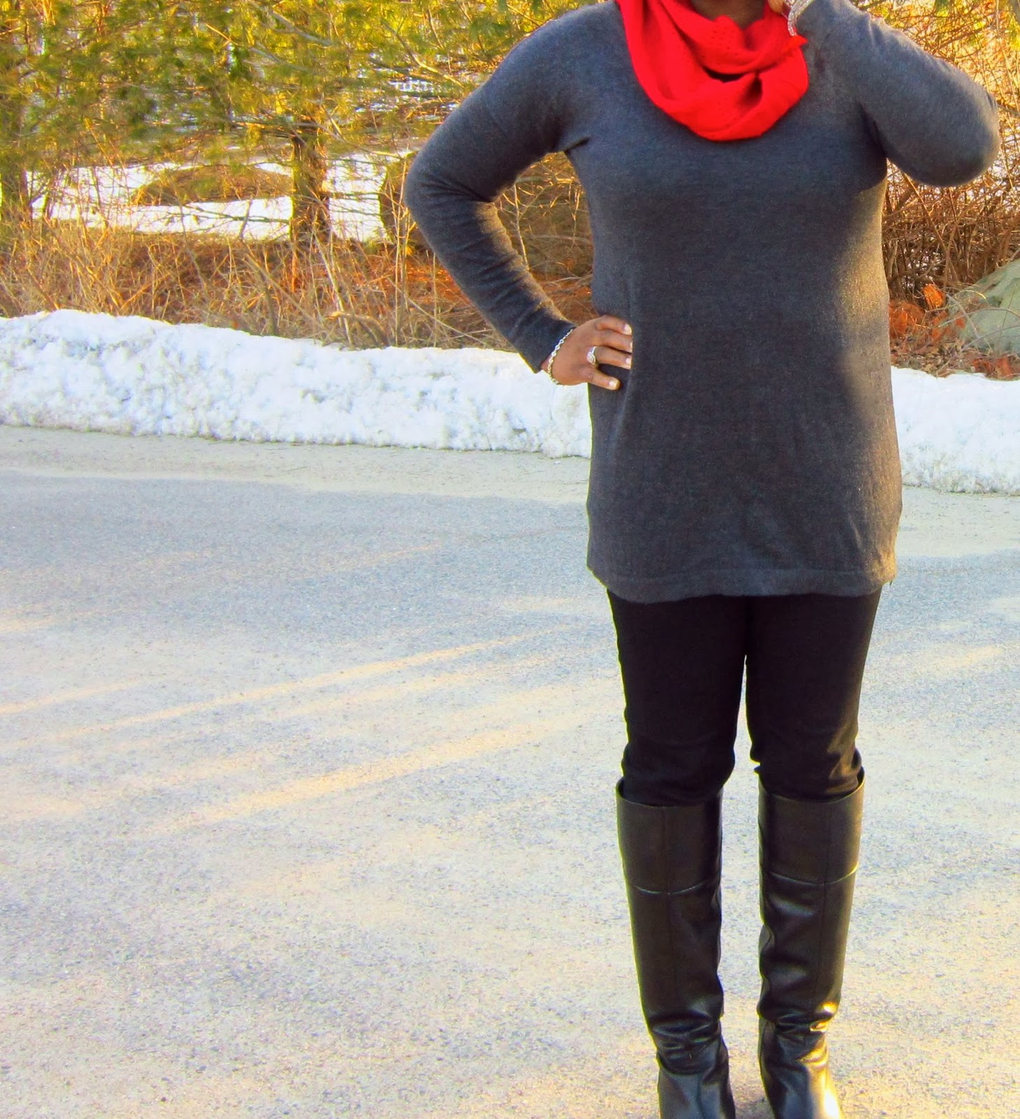 Nine West black boots, red infinity scarf