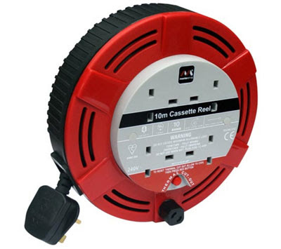 The Masterplug MCT1010/4R-MS Four Gang Casette Reel, 10m cable(10A rated ER10 4G reel cable)