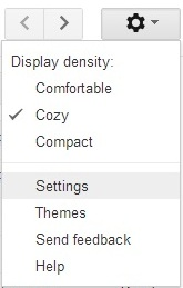 settings panel in gmail
