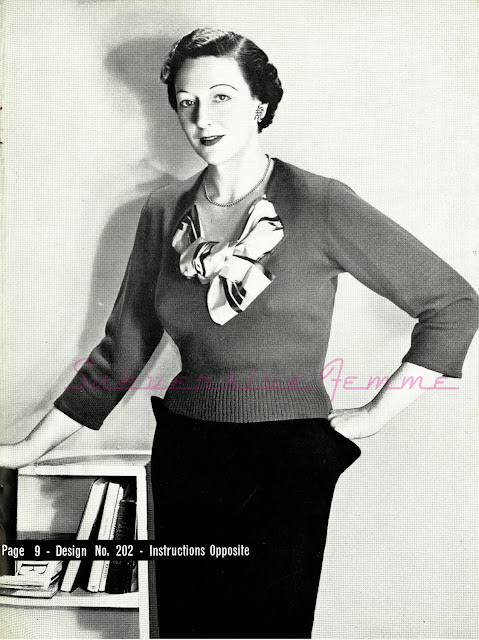 The Vintage Pattern Files - Free 1950's Knitting Pattern - Jumper in Crepe Wool