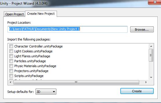 lokasi folder untuk penyimpanan project.