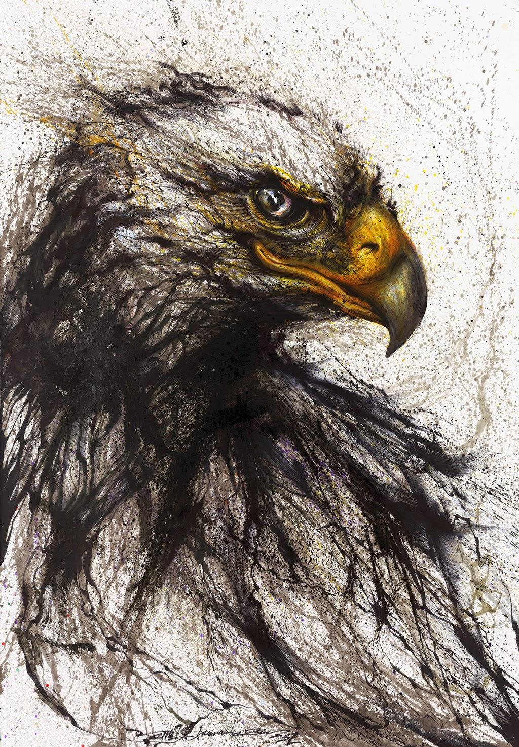 05-Eagle-1-Hua-Tunan-huatunan-Melting-&-Running-Ink-Drawings-www-designstack-co