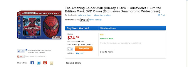 The Amazing Spider-Man Blu-Ray DVD UltraViolet Limited Edition Mask Gift Set Pre-Purchase Box