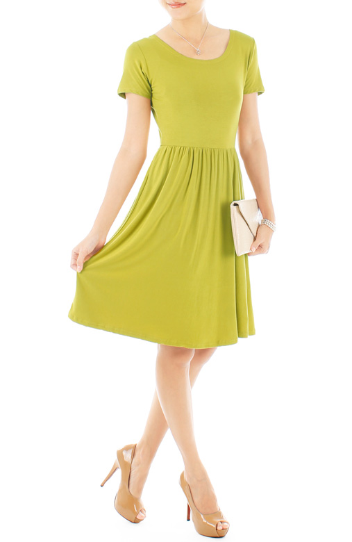 Prudence Knee Length Skater Dress – Lime Green