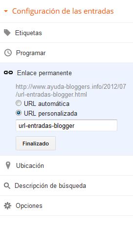 URL personalizada en las entradas de Blogger
