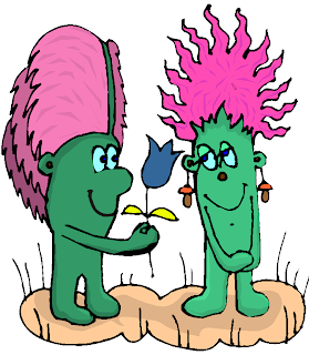 Green Creature Couple Clipart