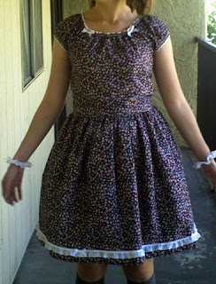 Purple Floral Print Dress with White Eyelet Lace