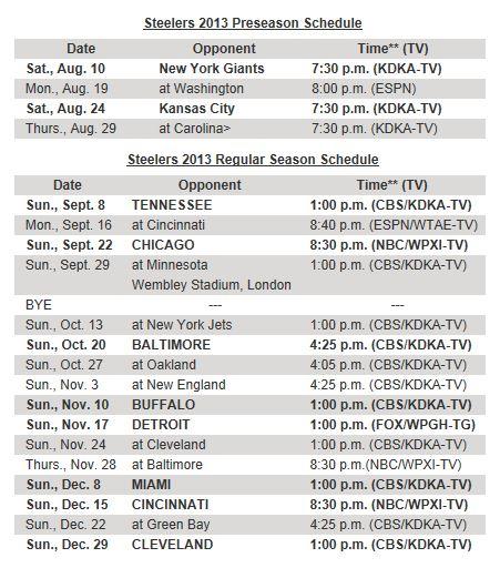 The chronicles of motherhood steelers schedule 2013 2014 season - Steelers schedule 2014 printable ...