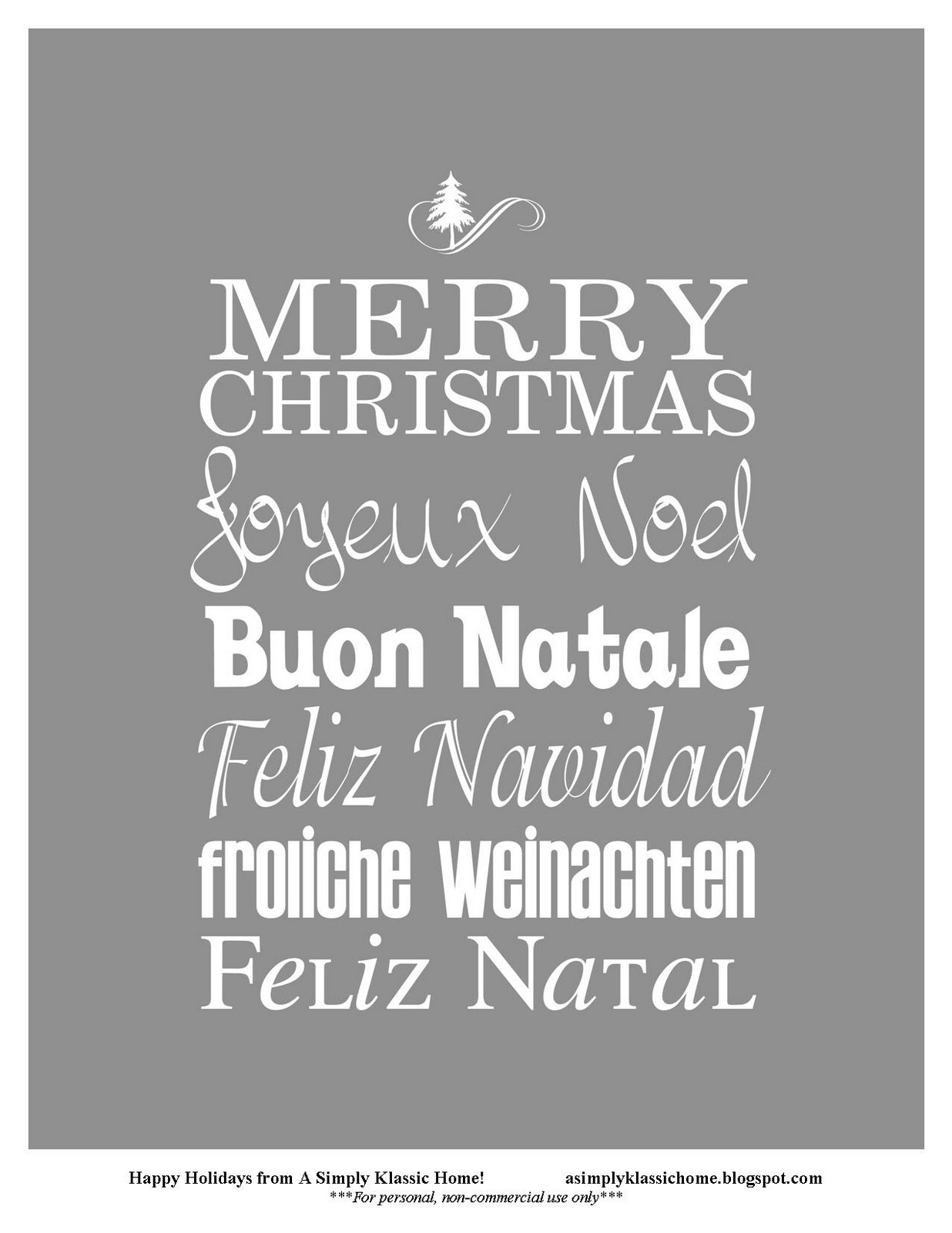 Playful image regarding merry christmas in different languages printable