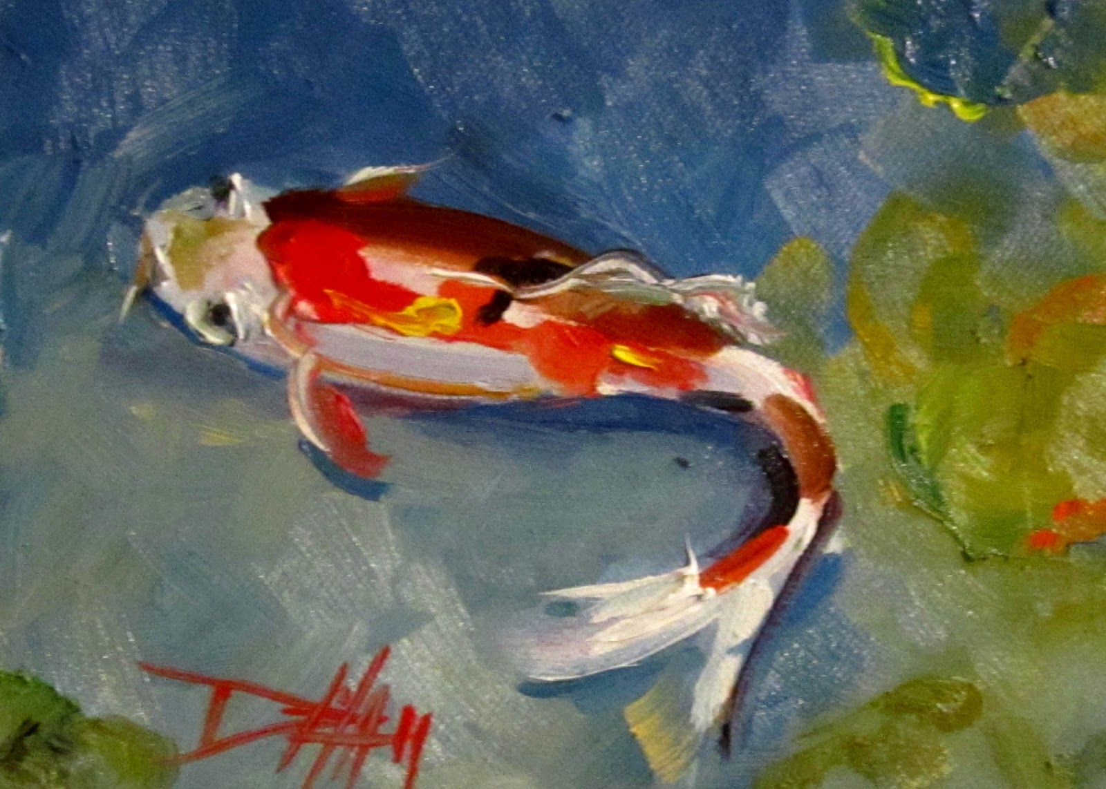 Koi fish oil painting images for Koi artwork on canvas