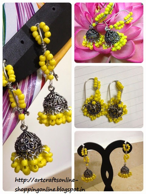 designer jhumki with yellow beads