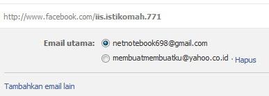 email alternatif facebook sudah terlihat