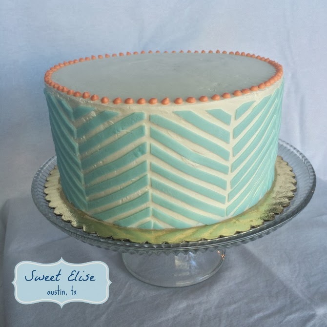 The Holland House: Peach and Turquoise Chevron Cake