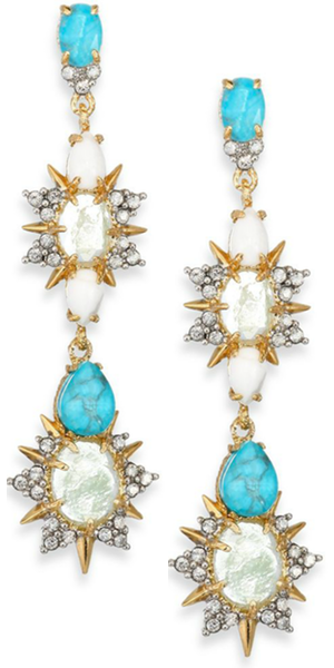 Alexis Bittar Elements Turquoise Howlite & Crystal Dangling Earrings
