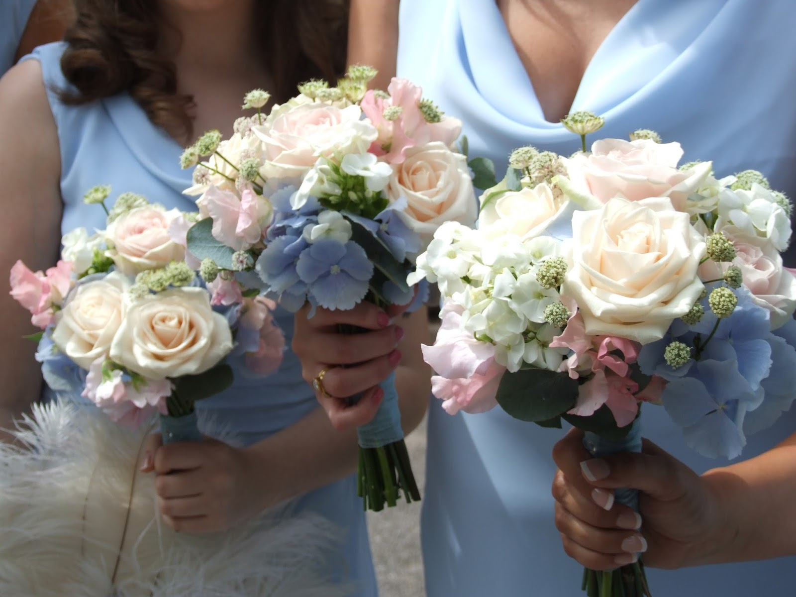 Crystal Flowers: Pastel blue wedding bouquet - West Tower Aughton ...