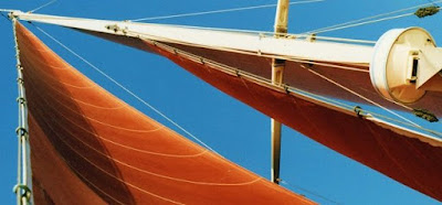 traditional tanbarked red sails unfurled on blue sky