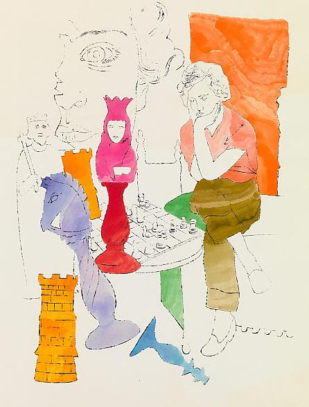 Andy Warhol, Chess Player, 1954