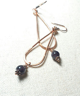 Copper Loop Earrings with Amethyst for Peace at Just A Tish Designs on Etys