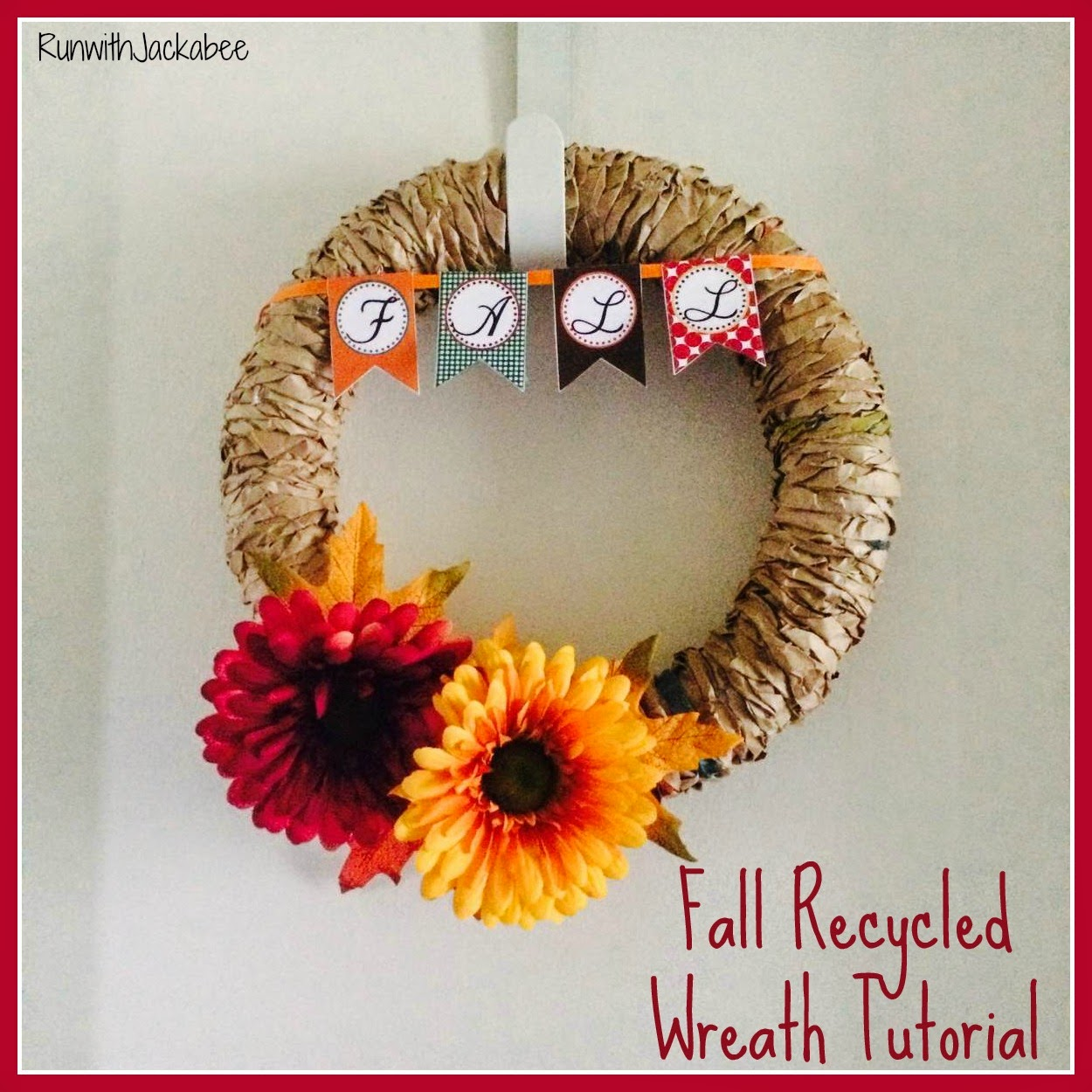 Runwithjackabee Fall Recycled Wreath Tutorial