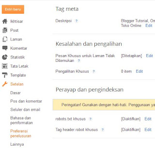 Setting Broken Link di blogger