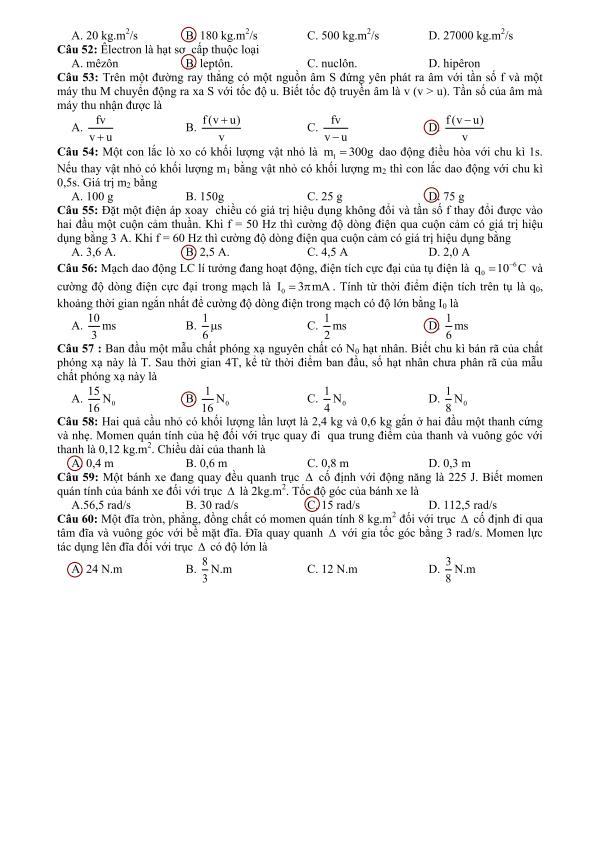 gợi ý đáp án môn lý khối a năm 2013