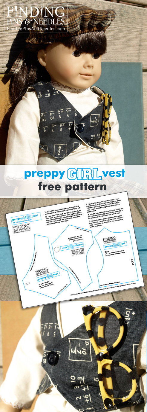 Finding Pins and Needles: Preppy Girl Vest: Free American Girl Pattern
