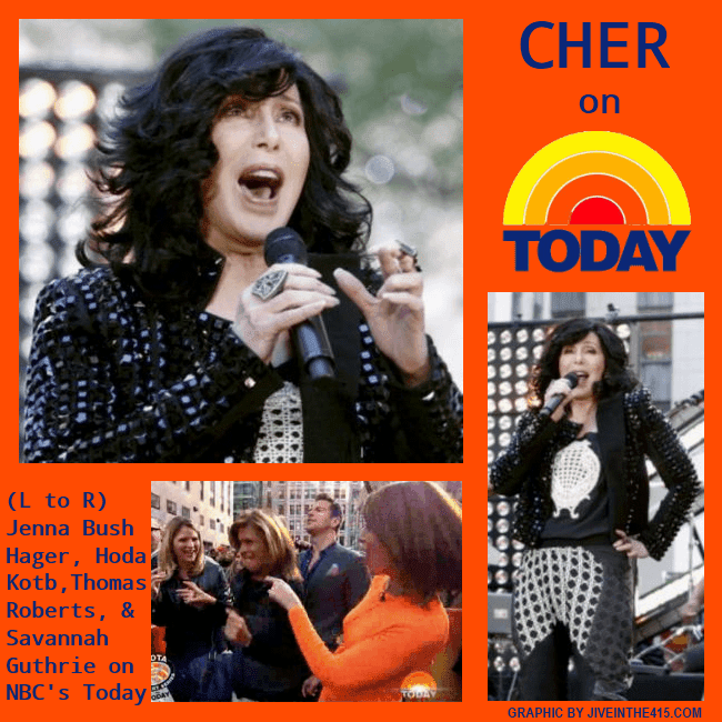 "Music legend and gay icon Cher performed on ""The Today Show"" in the plaza, and Jenna Bush Hager, Hoda Kotb, Thomas Roberts, and Savannah Guthrie sang and danced to the hit song ""Believe"""