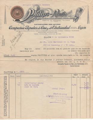 factura compañía popular de gas y electricidad 1930
