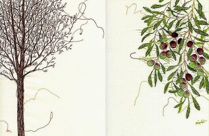 Intricate embroideried artwork by Miyuki Sakai