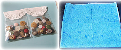 image vintage buttons multicoloured doily fat quarter turquoise blue floral