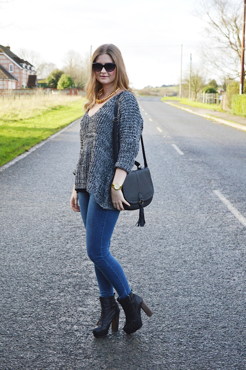 Romwe chunky knit sweater outfit, fashion bloggers, FashionFake, casual outfit inspiration