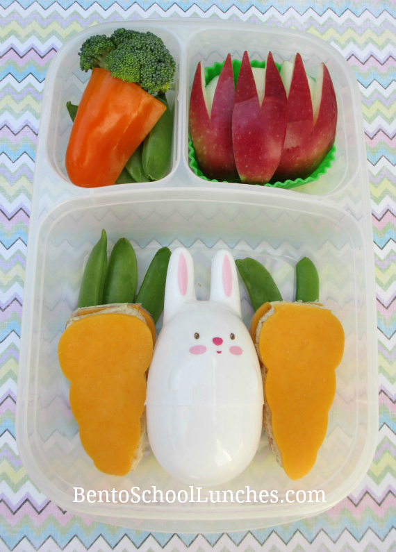 Easter bunny and carrot, bunny ears, bento school lunches