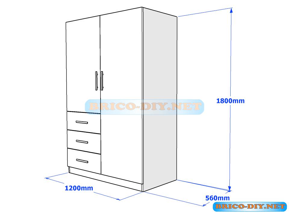 Plano de ropero guardarropa de melamina blanco con gavetas for Medidas de muebles de oficina pdf