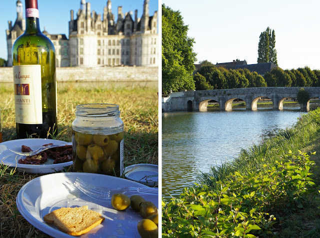 chateau chambord, france, picnic, moat, sunset