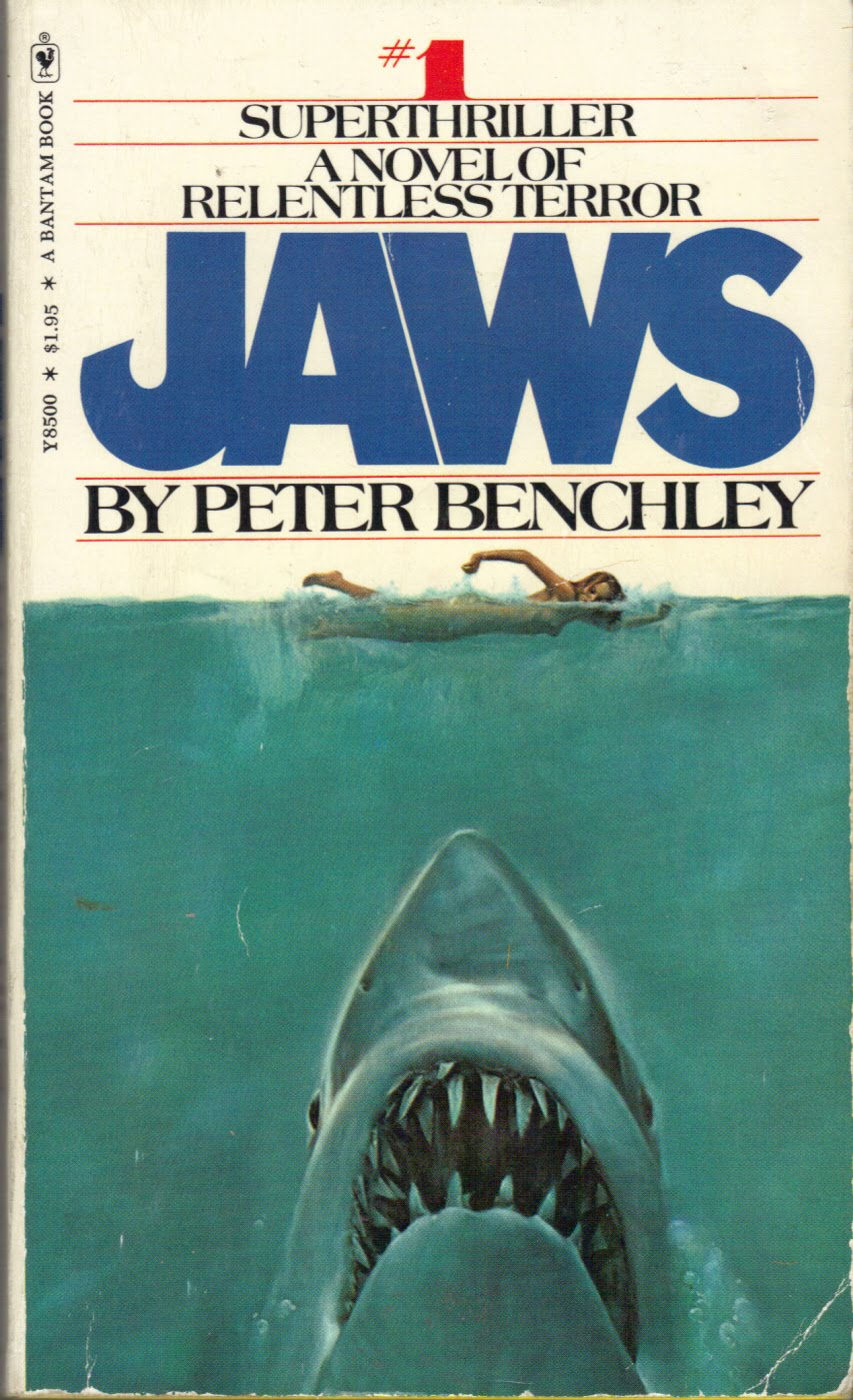 Jaws Book Cover Art ~ Too much horror fiction jaws by peter benchley the amity