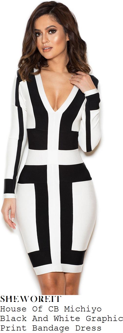 amber-rose-black-white-monochrome-panel-detail-long-sleeve-plunge-front-v-neck-bodycon-bandage-dress