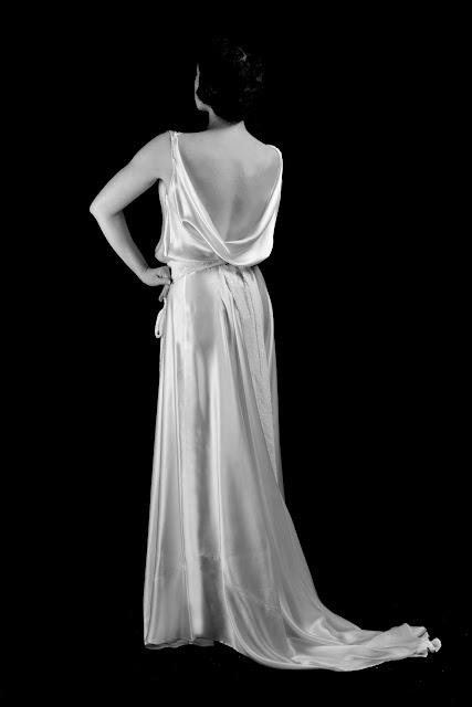 Alexandra King 1930s satin wedding dress