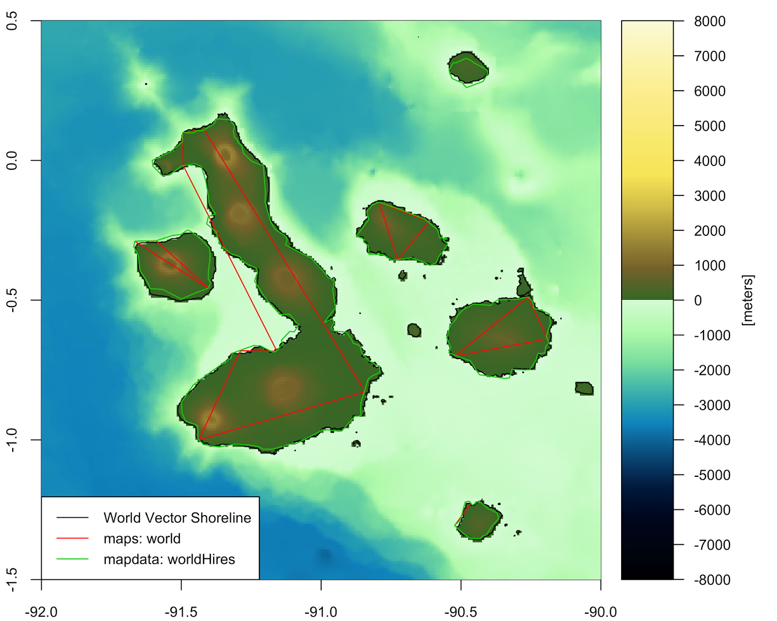 Importing bathymetry and coastline data in R