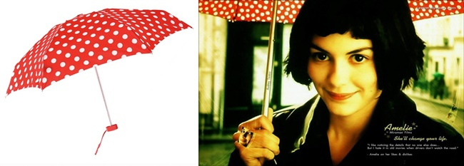 Amelie's red polka dot umbrella