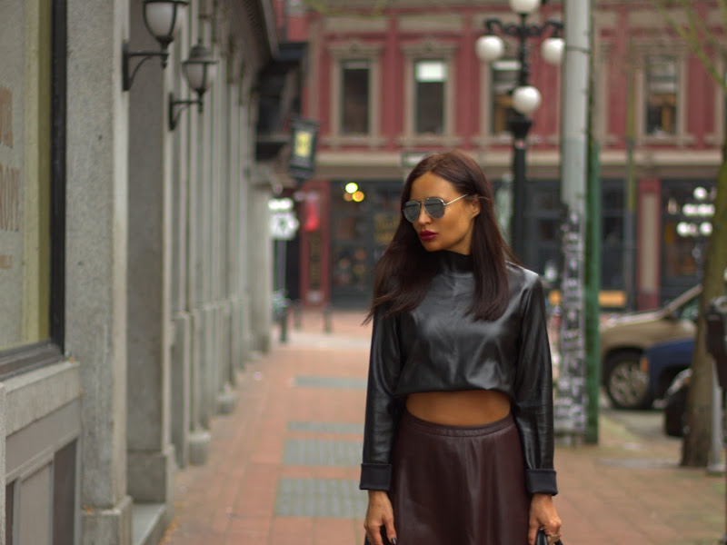 style squared by z m quot leather cropped top and leather