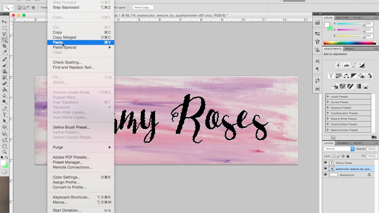 How to make watercolour text