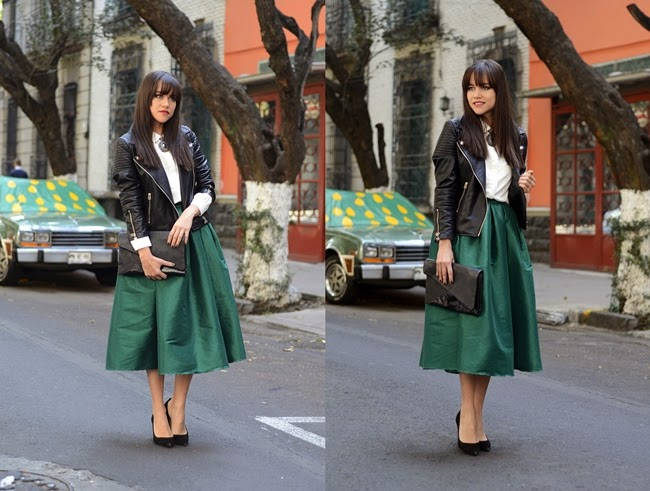 Choies Emerald Green Midi Skater Skirt