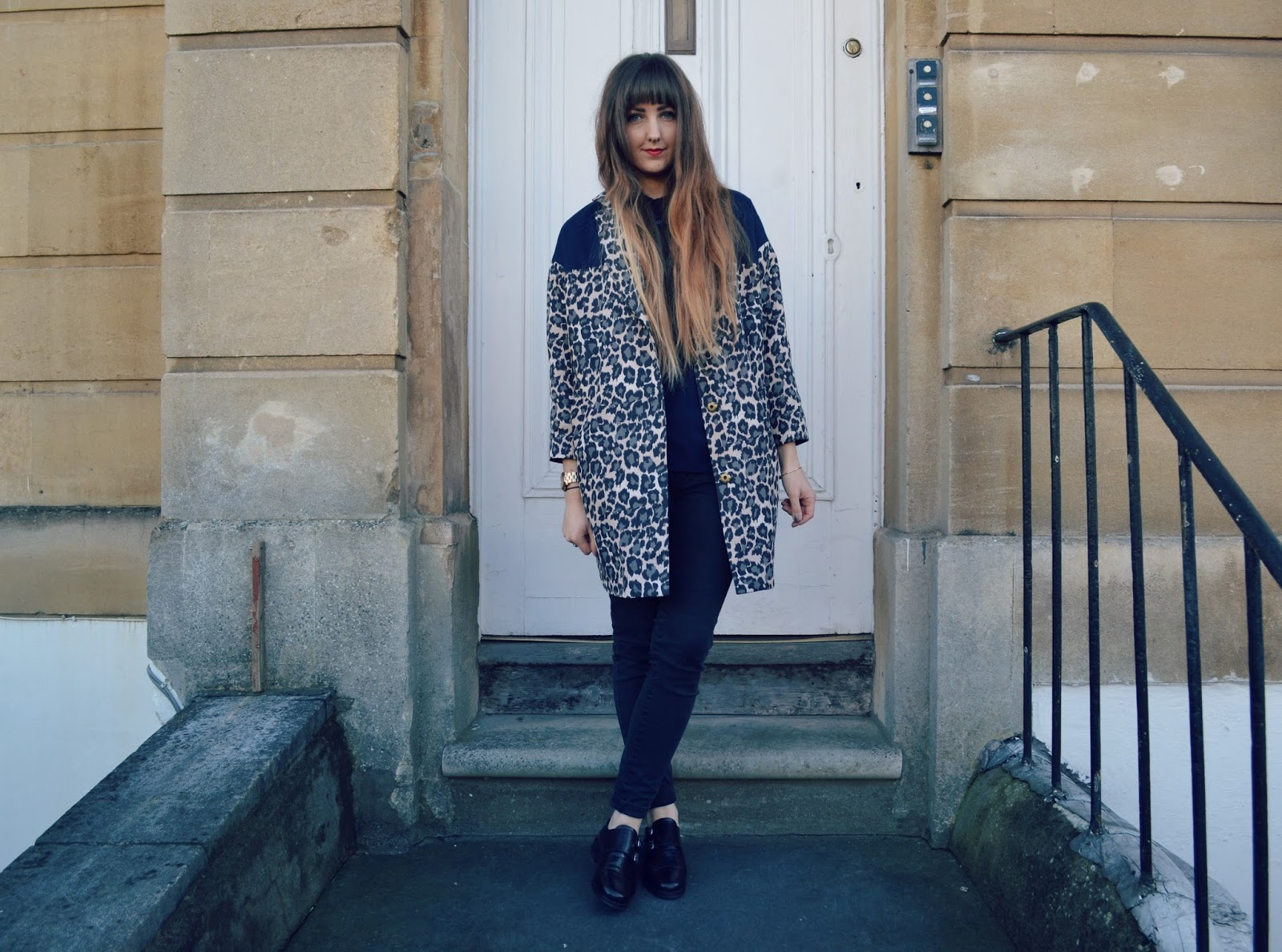 topshop monk shoes asos leopard coat gap skinny jeans
