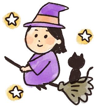 魔女と黒猫のイラスト(ハロウィン)