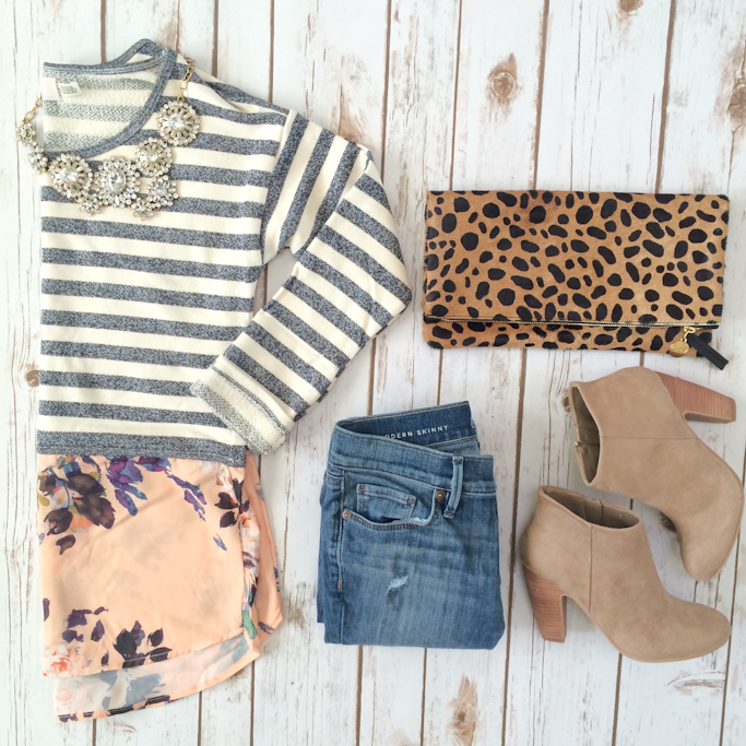 Anthropologie layered stripes sweater Loft modern petite jeans Nordstrom Rack Abound suede ankle booties Clare V leopard foldover clutch